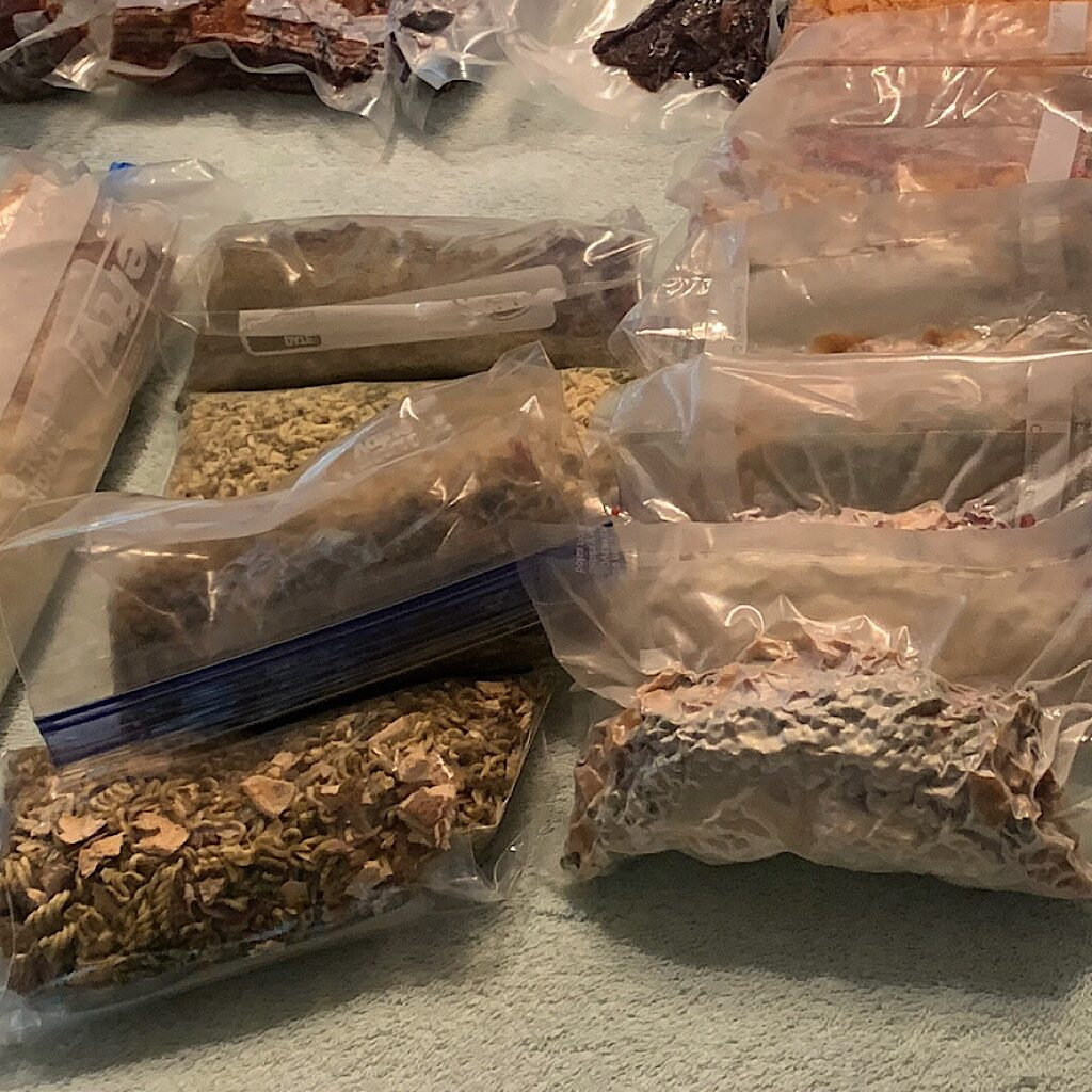 Packing meals for nine days on Isle Royale. My pack felt lighter and less bulky carrying Backcountry Foodie recipes. I also was not starved the entire time.