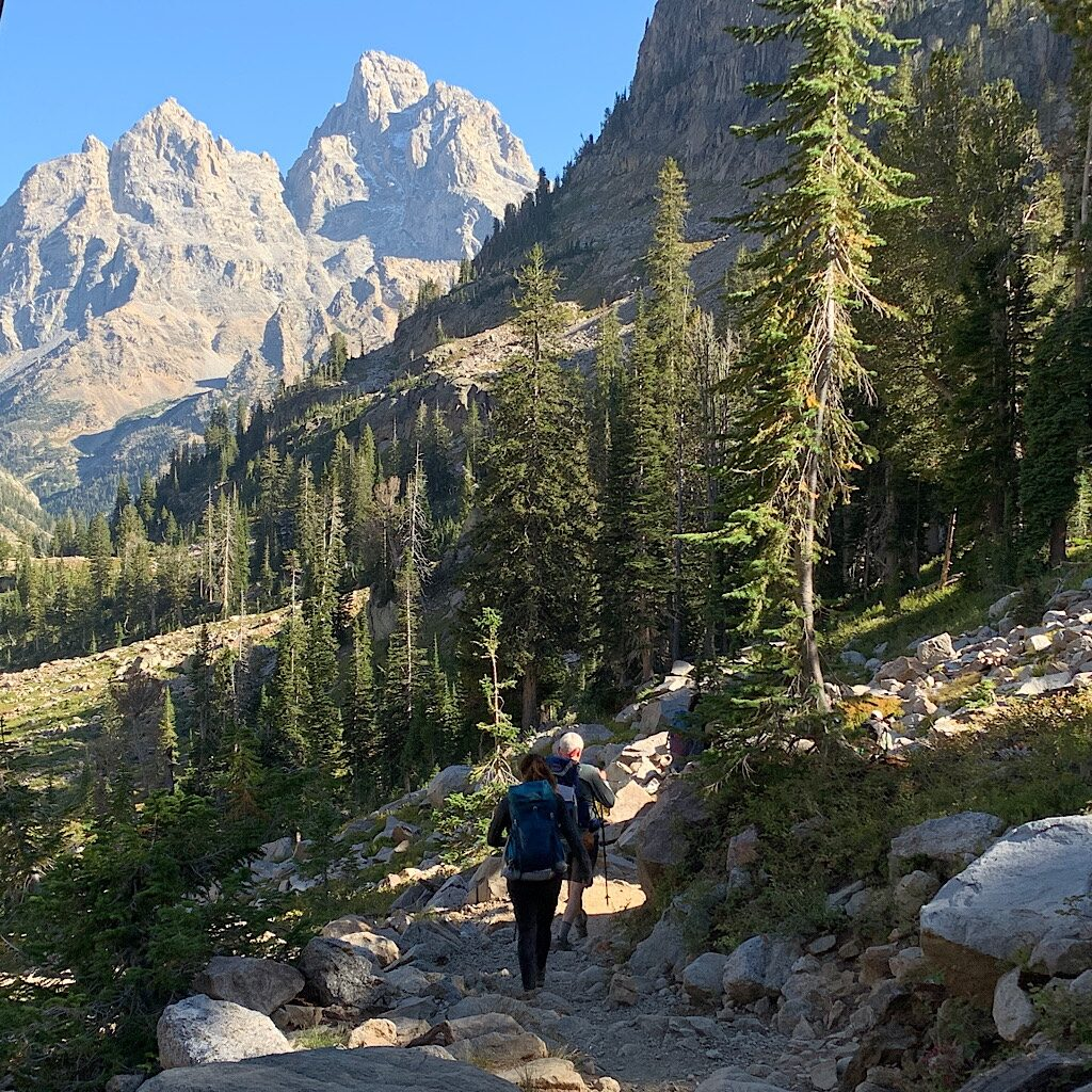 The steep trail leaving Lake Solitude and heading towards Cascade Canyon.