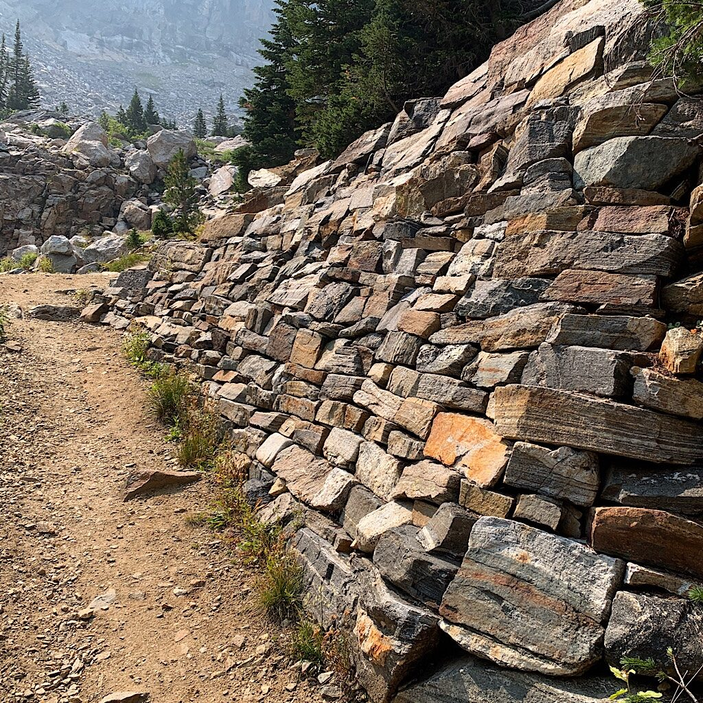 Superb trail engineering near the cutoff for Avalanche Divide.