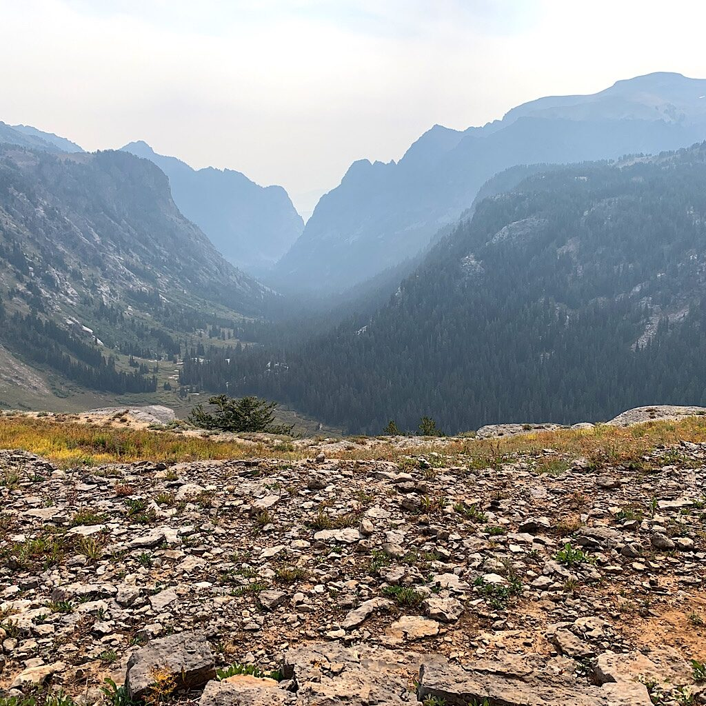 Eating a second breakfast at Death Canyon Shelf, out of focus due to wildfire smoke from California.