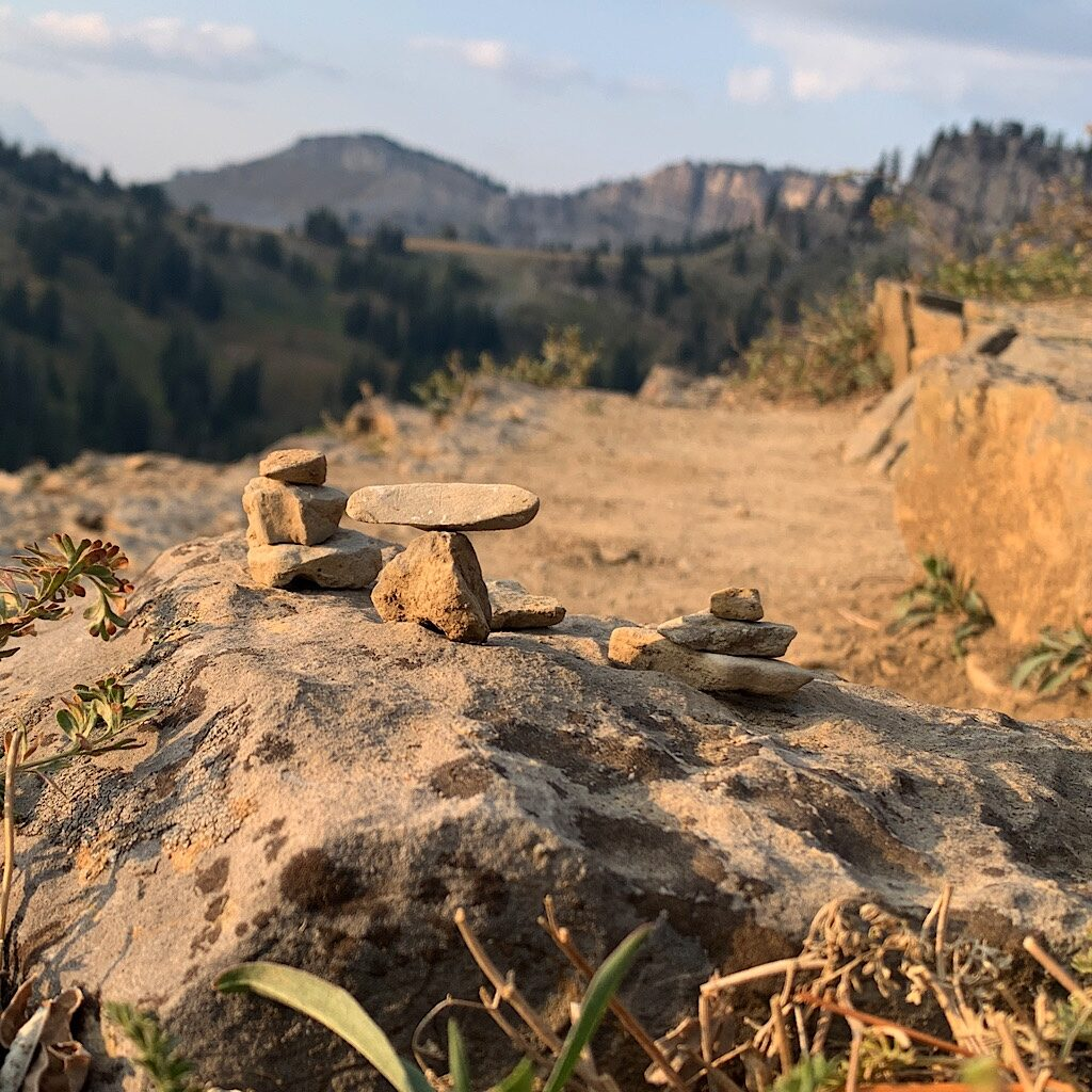 A mini Stonehenge at the breakfast spot overlooking Granite Canyon.