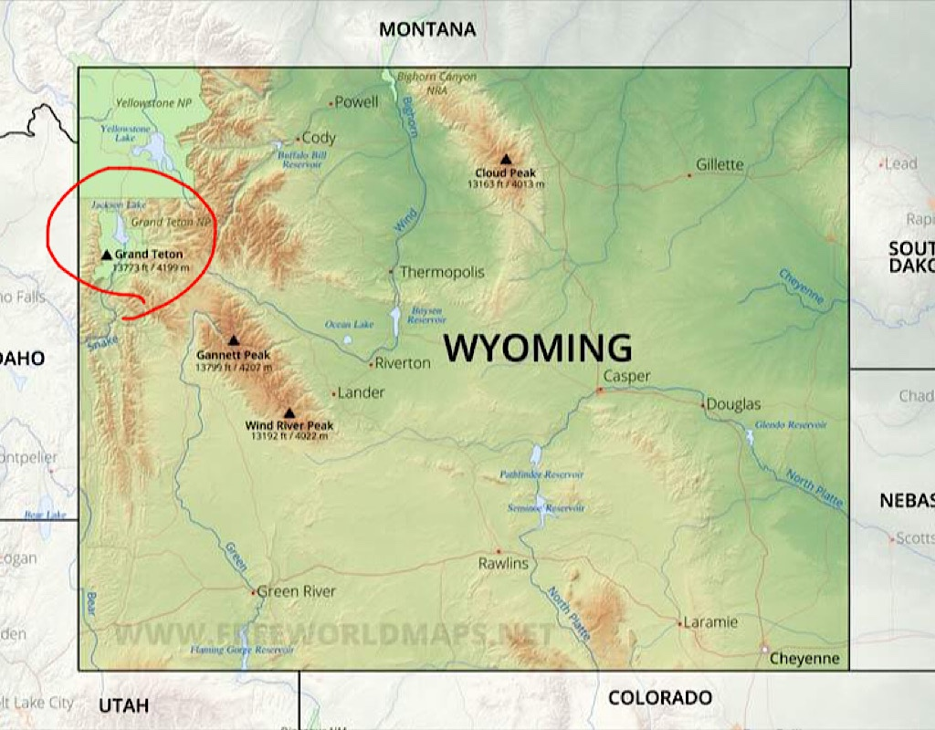 The Grand Tetons are situated in Northwest Wyoming just south or Yellowstone.